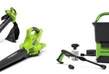 Greenworks Soplador/Aspirador/Triturador de hojas inalámbrico de 40V + Limpiador Alta Presión GDC40 Operado Con Batería