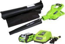 Soplador, Aspirador y Triturador de Hojas 40V, con cargador de batería 4ah (Color : Green)