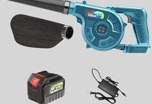 Soplador Electrico secador de pelo recargable, soplador y triturador de hojas eléctrico doméstico 2 en 1 de velocidad variable con kit de aspiradora de hojas, colector de polvo inalámbrico para comp