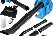 Monzana 4en1 Soplador aspirador y trituradora de gasolina con bolsa de 45L herramienta para exterior jardín 2 tubos